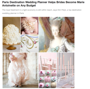 Marie Antoinette Wedding Press Release, Parisian Events